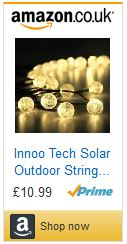 Solar powered fairy lights for garden outdoors lighting