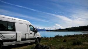 Camping on the shore of Lake Pukaki