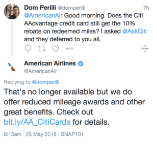 Citi Ends 10% Mileage Rebate