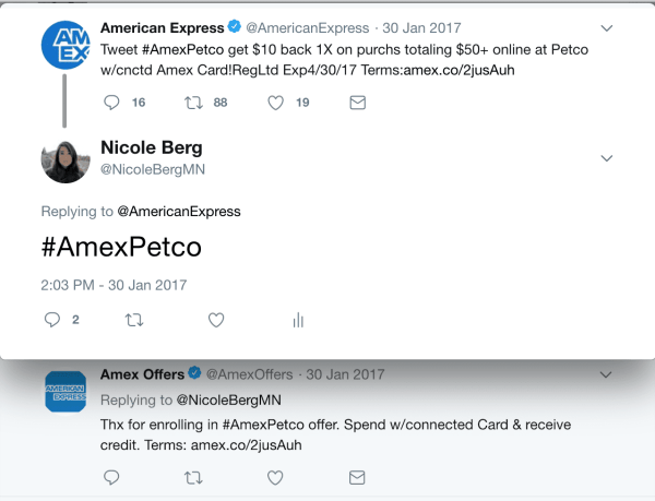 Tweet an Amex Offer to find a Deal