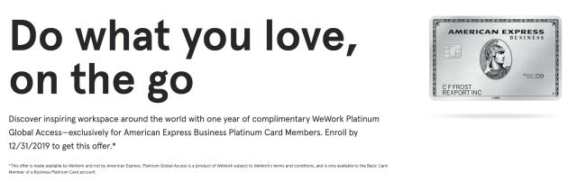 Amex WeWork Benefits
