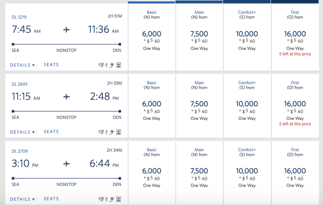 Delta Basic economy award prices current
