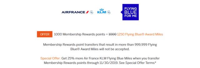 amex transfer bonus flying blue