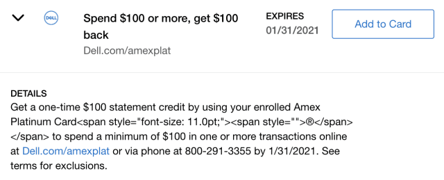 amex platinum dell credit