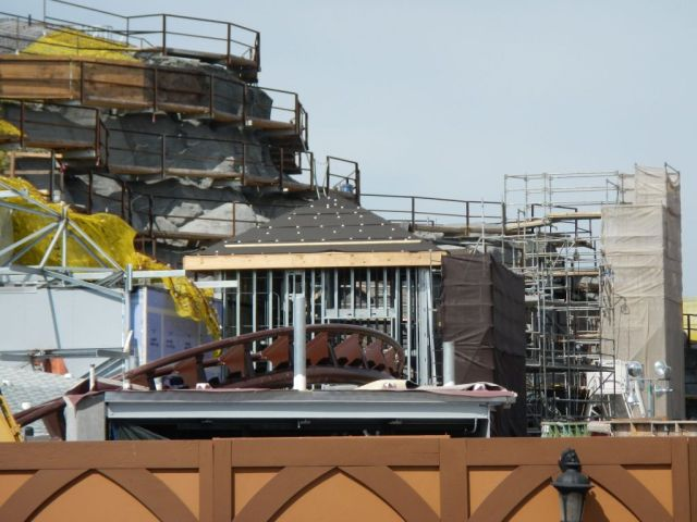 Details are starting to show on the exterior of the mountain