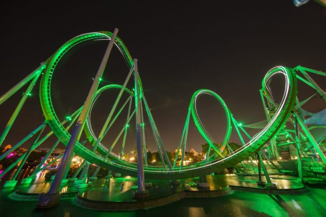 16-18458 Publicity PR GO Hulk 16  Coaster night Hulk  Islands of Adventure Soft Open  Riders