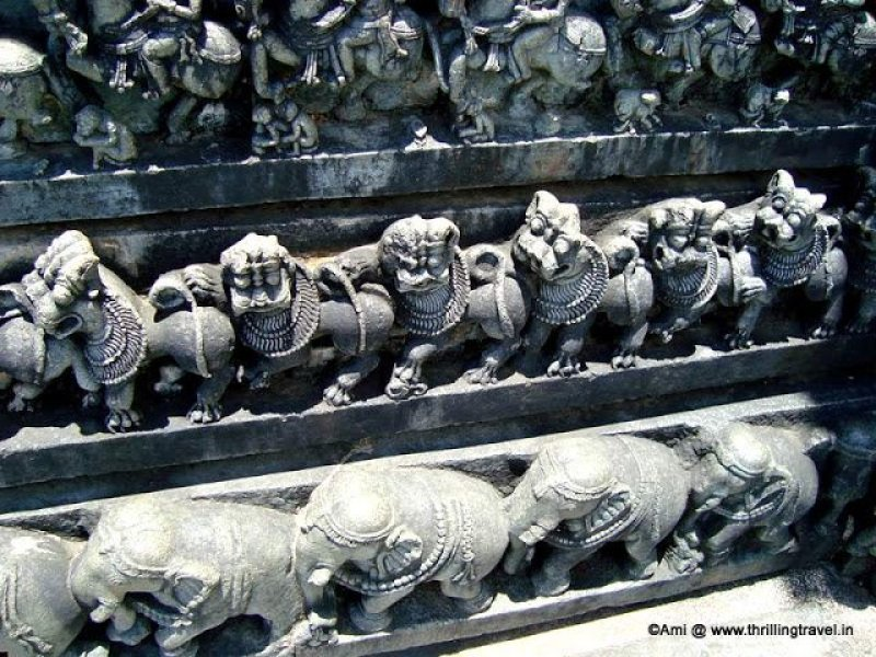 Animal carvings along the walls of Chennakesava temple, Belur