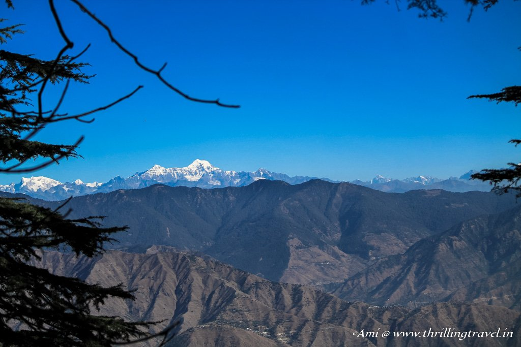 Glimpse of the snow-covered Himalayas at Landour