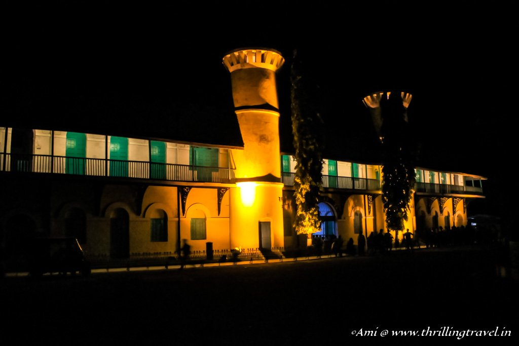 Cellular Jail at night