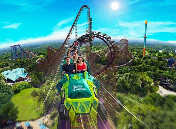 Concept art of Iron Gwazi, a record-breaking hybrid coaster set to open at Busch Gardens Tampa in 2021. - IMAGE VIA SEAWORLD PARKS & ENTERTAINMENT