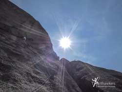 Looking up P6. 'Childhood's End', Big Rock Candy Mountain - South Platte, CO.