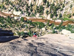 Looking down P6. 'Childhood's End', Big Rock Candy Mountain - South Platte, CO.