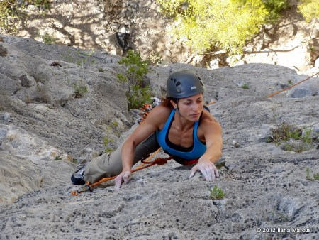 P2 (5.10c) of Snot Girlz (5.10d, 7 pitches)