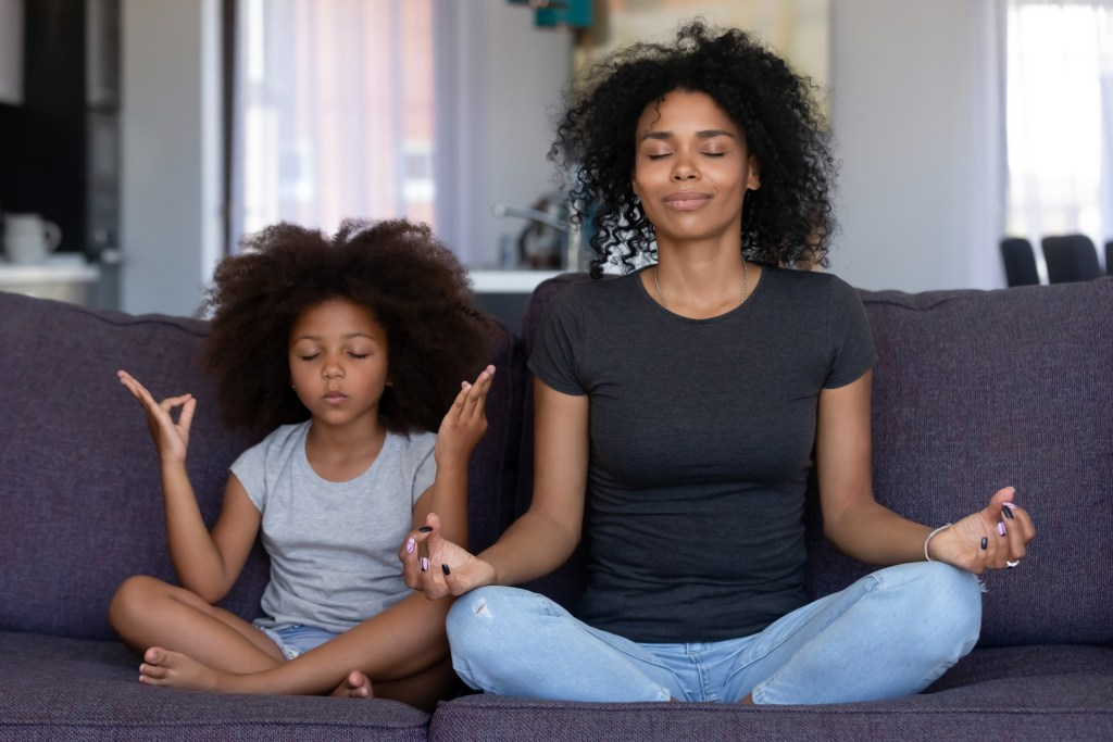 Mindful mum and daughter