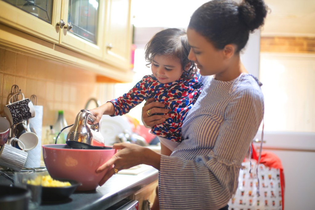 mum cooking with daughter