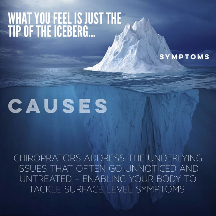 What you feel is just the tip of the iceberg. The tip is symptoms, while deep below the surface lie underlying issues and causes. We can help.