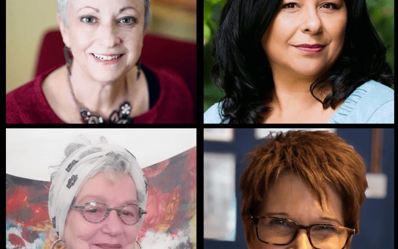 Storytelling group 1, Lesley Novick, Kim Vasquez, Michelle Westlund, and Bettiana Luisa LaSorella