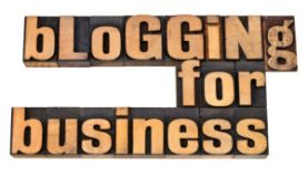 Blogging for business - internet concept -isolated text in vintage letterpress wood type