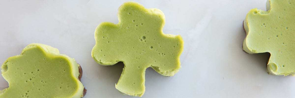 St. Patty's Day No-Bake Shamrock mini cakes - a paleo, gluten-free, egg-free naturally colored dessert or snack recipe. Kid friendly too!