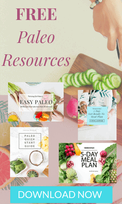 Get free Paleo resources - a paleo meal plan, a paleo diet quick start guide, a meal planning challenge, and an easy paleo diet recipes book