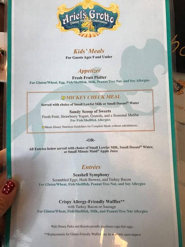 Eating gluten-free at Disneyland - Ariel's Grotto Allergy Menu