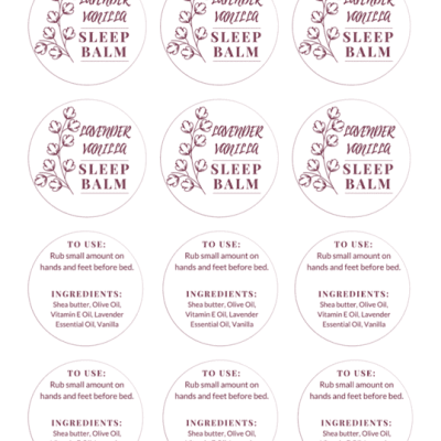 Sleep Balm Labels