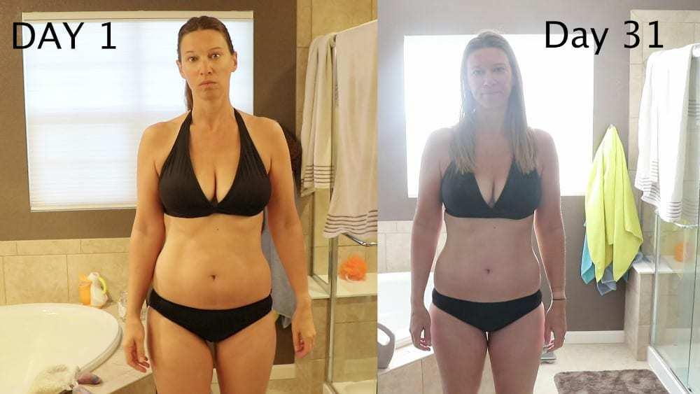 woman in bikini before and after front view