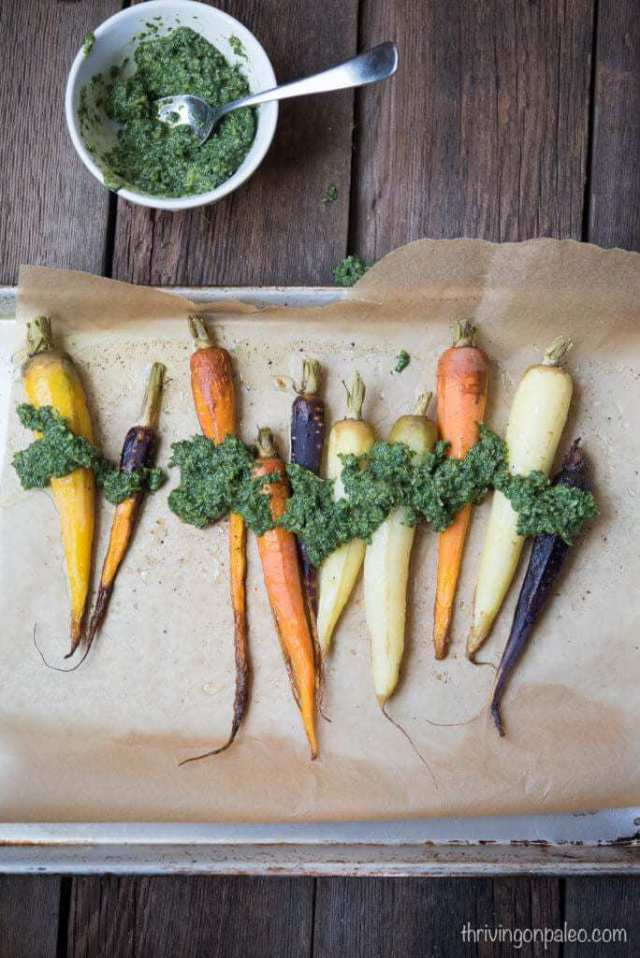 Roasted Carrots with Carrot Top Pesto - a Paleo, gluten-free, dairy-free side dish