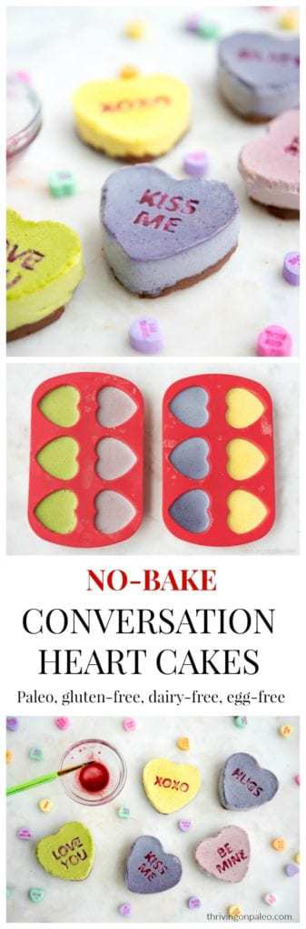 Paleo no-bake Conversation Heart recipe (dairy-free, egg-free). A perfect recipe for Valentine's Day!