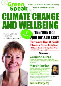 Climate Change & Wellbeing w/ Caroline Lucas poster
