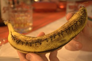 In December, too, spouse found some creative ways to avoid having to decide on an actual Christmas present. Here is some money sewn into a banana skin.