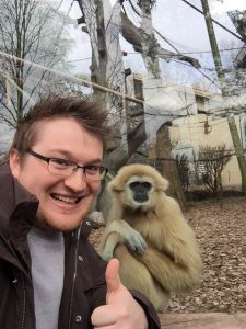 Program graduate, Anatomy/OPP Fellow, and DCOM Class of 2017 student Nick conducting in vivo comparative Hominoidea anatomy research at the Knoxville Zoo