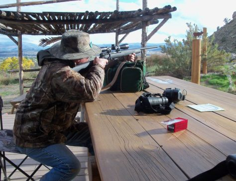 A hunter shoots the .17 caliber rifle for target practice and fun, and to to sharpen his eye for hunting season. Photograph by Michael McCarty.
