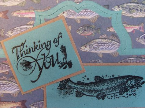 A custom hand crafted gift card, with a scene of trout and other fish including bass, bluegills, crappie