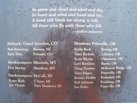 A list of the firefighter names who died during the South Canyon Fire on a Plaque at the Storm King Memorial Trail Near Glenwood Springs, Colorado