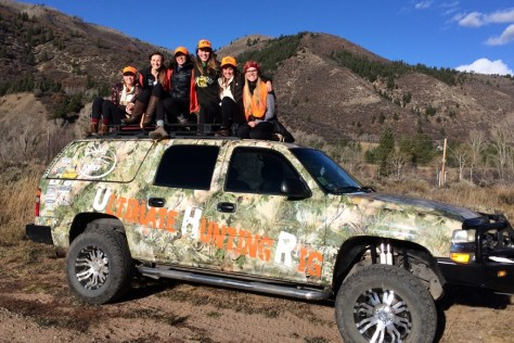 the girls of kappa alpha theta sorority and the ultimate truck prepare to go elk hunting in the mountains near basalt, colorado