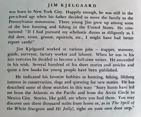 The Dustjacket Biography of Jim Kjelgaard, Found on a First Edition Copy of Dave and His Dog, Mulligan. Illustrated by Sam Savitt