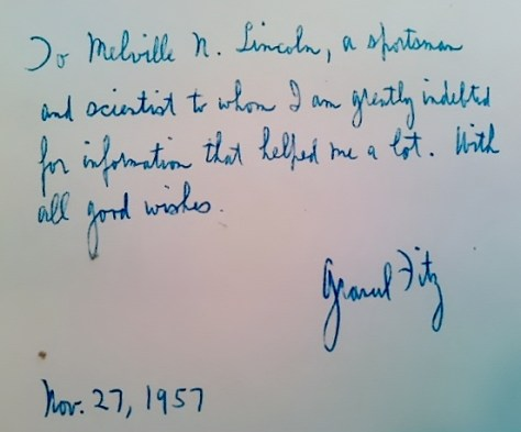 A Rare Autograph and Inscription of Grancel Fitz, From a Signed Copy of His Book North American Head Hunting. From the Collection of Michael Patrick McCarty, Publisher of Through A Hunter's Eyes