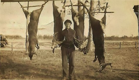 A Vintage Hunting Photograph of Mark A. McCarty Sr. With a Harvest of Several white-tailed deer Bucks, Taken During Shotgun Season in Southern New Jersey in the 1930's. From the Collection of Michael Patrick McCarty, Publisher of Through A Hunter's Eyes