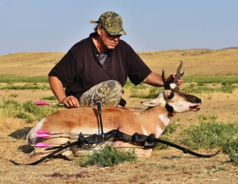 A Bowhunter Poses With A Pronghorn Antelope Harvested In The Red Desert Of Northern Colorado; Taken With A Hoyt Satori Traditional Recurve Bow, Easton Axis Traditional Carbon Arrows, Selway Arrow Quiver, And A Steelforce Broadhead