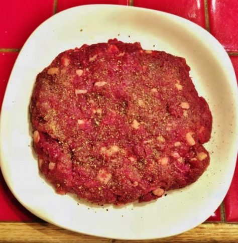A King-Sized Elk Burger Patty; Ground Up With Just The Right Amount of Beef Fat. Ready For The Pan. Posted by Michael McCarty