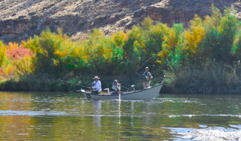 A Drift Boat Floats By On The Gunnison River in Western Colorado As Fisherman Cast For Trout. Photograph By Michael Patrick McCarty
