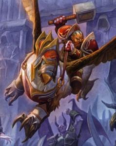 Kurdran Wildhammer riding his gryphon Skyree