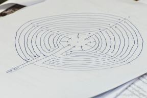 Close up of Chartres-style labyrinth drawing