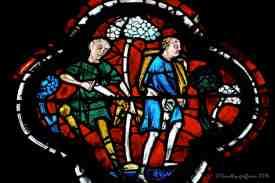 Two thieves preparing to attack the pilgrim