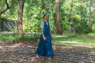 Jill praying the labyrinth