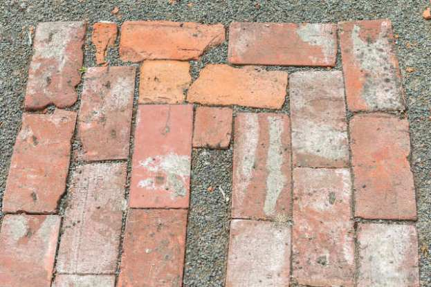 Turn make from whole and partial brick pieces