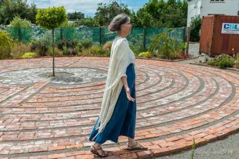 Jill praying the St. Luke Labyrinth in Christchurch, NZ