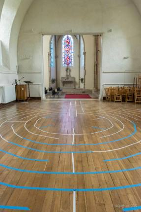 Masking Tape Labyrinth Construction