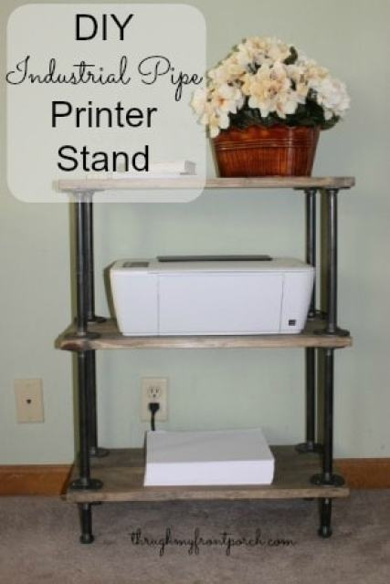 DIY Pipe And Wood Printer Stand
